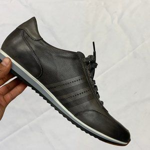 Magnanni Grey Leather Lace Up Merino Sneaker SZ 10